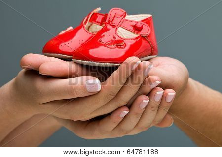 Concept Pregnant. Woman and her husband holding baby shoes in their hands. Mom and Dad Expecting a b