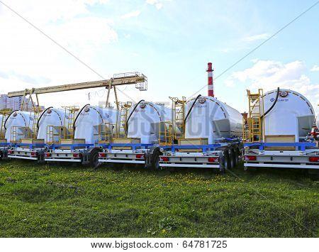 Many Cargo Tank Truck In A Parking Lot In Krasnogorsk, Russia