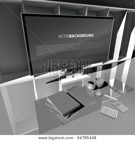 Vector working place with big monitor  and two cups