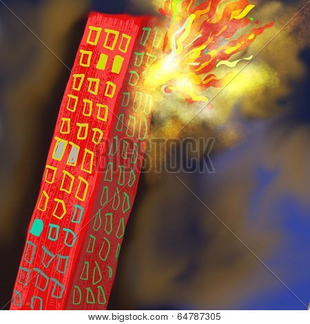 Burning Building Painting