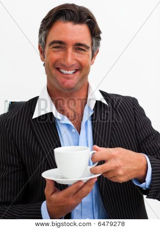 Attractive Businessman Drinking Coffee