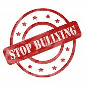 pic of stop bully  - A red ink weathered roughed up circles and stars stamp design with the words STOP BULLYING on it making a great concept - JPG