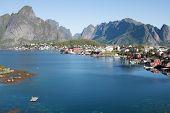 stock photo of reining  - Scenic town of Reine on Lofoten islands in Norway - JPG