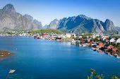 foto of reining  - Scenic town of Reine on Lofoten islands in Norway - JPG