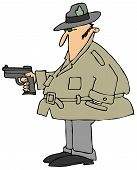 picture of fedora  - This illustration depicts a man wearing a raincoat and a fedora pointing a pistol - JPG