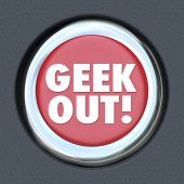 picture of dorky  - Geek Out Button Nerd Obsession Pop Culture - JPG