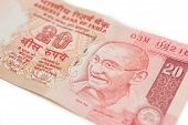 stock photo of indian currency  - A twenty rupee note  - JPG