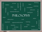 pic of thinker  - Philosophy Word Cloud Concept on a Blackboard with great terms such as education study thinker and more - JPG