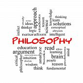 foto of thinker  - Philosophy Word Cloud Concept in red caps with great terms such as education study thinker and more - JPG