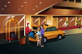 image of carry-on luggage  - A vector illustration of hotel bellboy helping customers carrying luggage - JPG