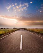 image of serbia  - misty morning on rural road in Serbia - JPG