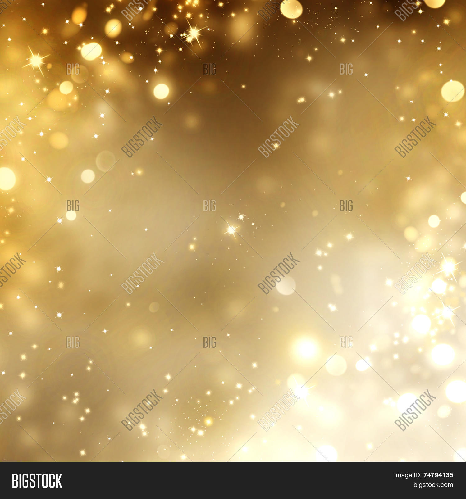 Christmas Gold Background. Golden Holiday glowing Abstract Glitter Defocused Background With ...