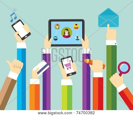 Modern technology. Online shopping and payment. Social network and education. Business.