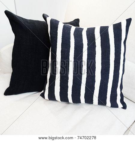 Striped Cushion On A Sofa