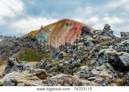 Brennisteinsalda mountain is one of the most beautiful and multicolored volcanos in the area of Landmannalaugar, but also in the whole Iceland. HDR