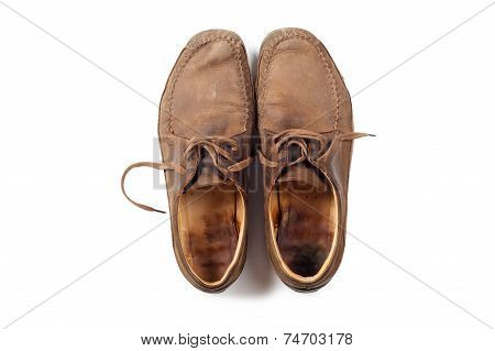 Man leather brown shoes