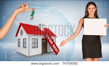 Businesswoman holding empty paper and showing house