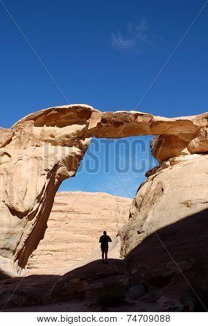 Umm Fruth Arch In Wadi Rum, Jordan.