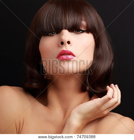 Sexy Makeup Woman Face With Bob Hairstyle Looking