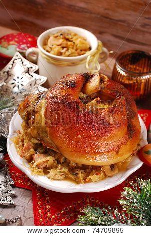 Pork Knuckle With Sauerkraut For Christmas Dinner