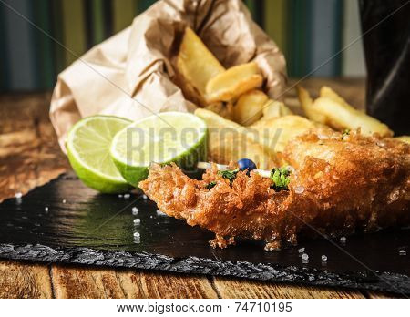 An appetizing fish and chips