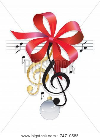 Treble Clef Festive Music Background