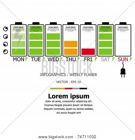 Battery Shape Weekly Planner Business Infographic Design Template
