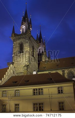 Tyn Gothic Cathedral In Prague At Night