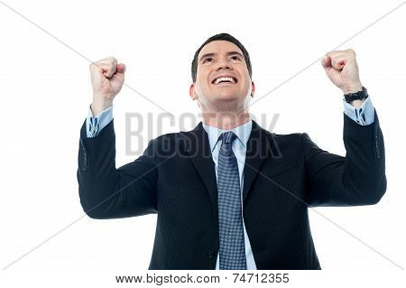 Mature Businessman With Raising Arms