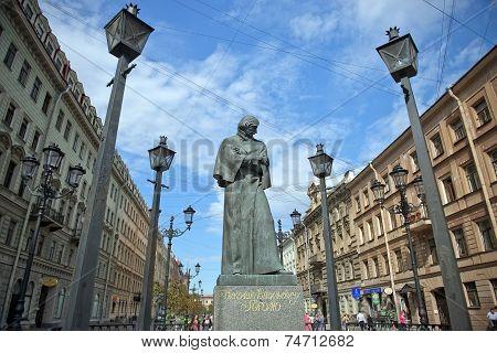 Gogol Monument In Saint Petersburg