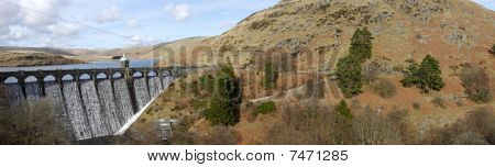 Craig Goch Dam Panorama, Elan Valley Wales Uk.