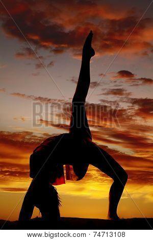 Silhouette Woman Backbend Leg Up