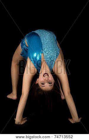 Woman Blue Dance Back Bend Black Happy