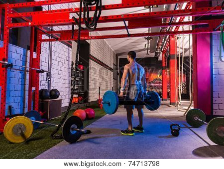 Hex Dead Lift Shrug Bar Deadlifts man at gym workout weightlifting