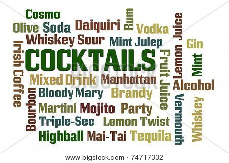 Cocktails word cloud on white background
