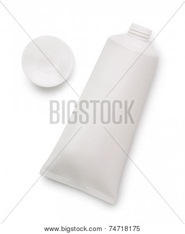 Blank open plastic tube isolated on white