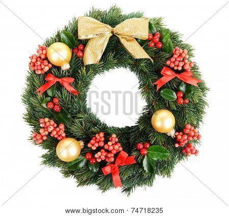 Christmas decorative wreath with leafs of mistletoe isolated on white