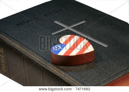Patriotic Heart on Black Bible