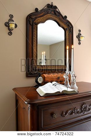 Open Bible with Glass Angels, Lit Candles and Clock-0
