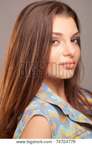 Beautiful hair, portrait of an young girl on studio