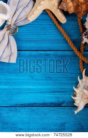 Summer Holidays Blue Background With Space For Advertising And Maritime Theme (seashells, Starfish,