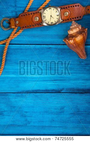 Summer Theme Blue Background With Space For Advertising And Maritime Theme (seashells, Starfish, Sea