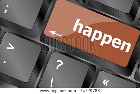 Happen Word On Computer Pc Keyboard Key