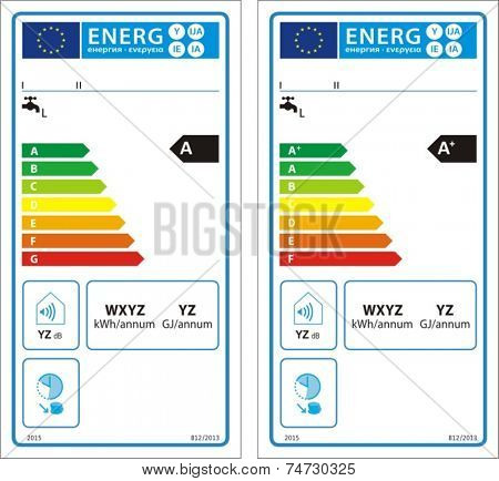 Conventional water heaters new energy rating graph label