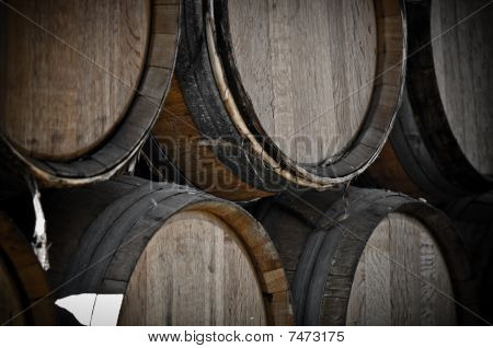Dark Wine Barrels To Store Vintage Wine