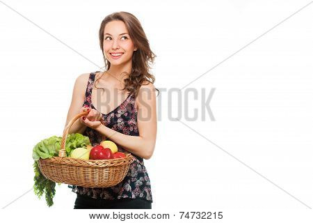 Basket Full Of Healthy Groceries.