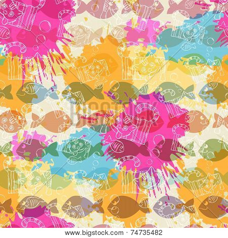 Seamless pattern on the background of colorful blots inks.