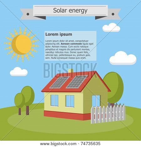 Solar energy panels house ecology