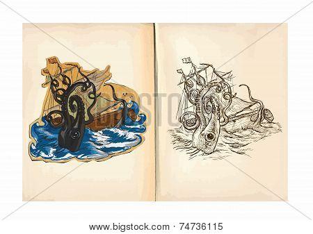 Children's Coloring Book - Giant Octopus