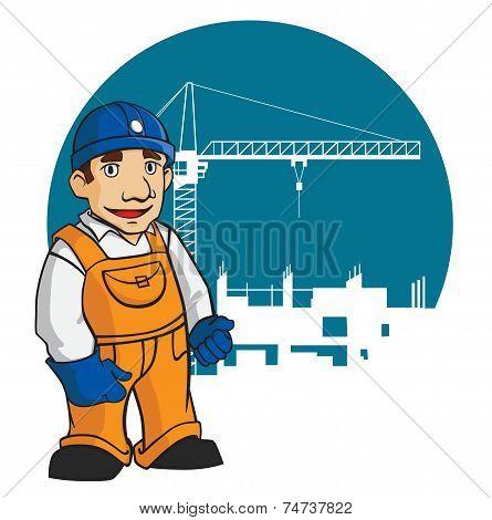Smiling builder on construction background
